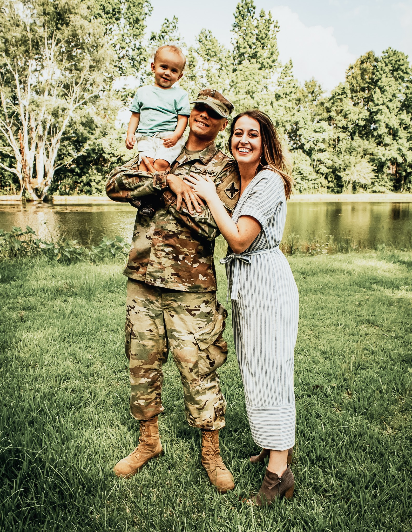 Military Family pictured with Son on Father's Shoulder by Sarah Mozingo